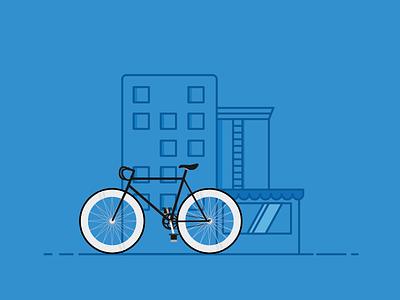 cruising on my fixie / bicycle illustration / bicycle city fixie bike illustration graphic branding identity logo
