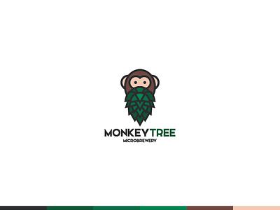 Monkey Tree Microbrewery  icon beer brewery monkey illustration graphic branding identity logo