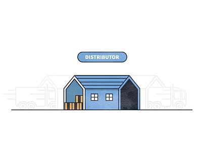 Distributor manufacturing wholesale distribution truck building warehouse illustration icon logo