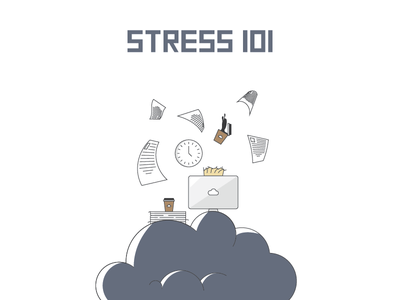 Stress Cloud job stress coffee paper deadline work cloud illustration icon logo