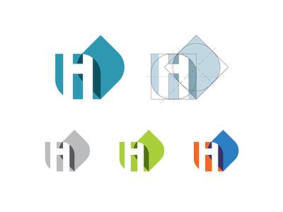 H+I = Health + Inese negative space heathiness health leaf i h illustration icon logo