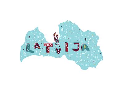 Map of Latvija freedom culture typography milda riga latvia latvija country illustration