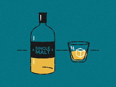 Whiskey Round ice cube single malt liquor burbon ice editorial whiskey illustration