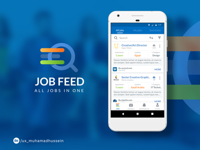 Job Feed App design workflow prototyping wireframes icon app branding ios android ux ui
