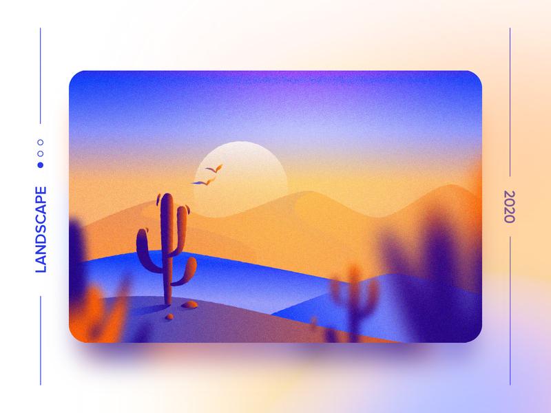 Landscape 3 - Freebie Wallpaper birds sun desert cactus inspiration bright laptop desktop download freebies freebie wallpaper ui gradient concept design flat vector illustration lanscape