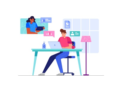 Effective Work From Home - Illustration feedback video call meetings communication talking woman man with laptop working space community stayhome work from home work concept website flat vector illustration