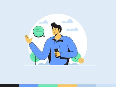 Hi Guys - Illustration Style exploration vector illustration vector mixedmedia line lineart in nature man guy illustrator say hi character design character illustration art concept flat design illustration