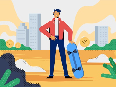 Man with skateboard Illustration textures red yellow expression sky line work lineart trees buildings cool nature skateboard man flat design vector illustration