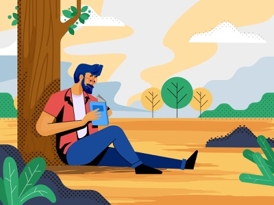 Guy reading a book Illustration cool guy alone clouds reading app yellow study peace enjoying in garden nature character design bearded man specs reader reading book guy flat design vector illustration