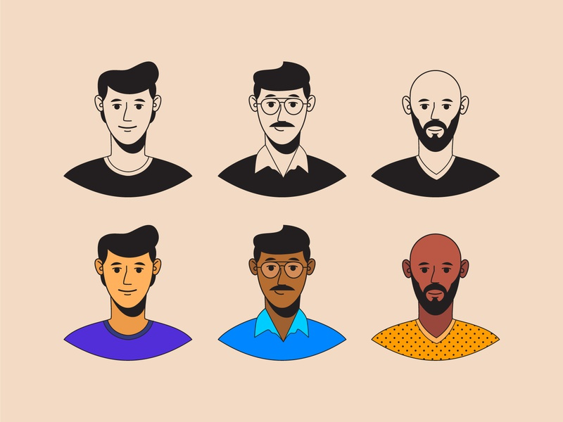 Avatar exploration profile avatars different characters expression linework flat vector illustraion cool hair style specs beard guy character design man character