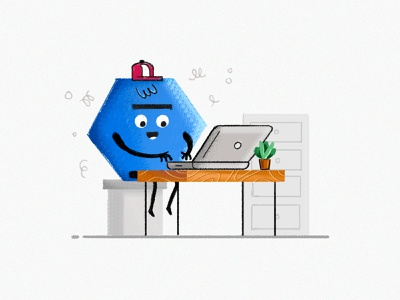 Work From Home macbookpro laptop desk experiment stylized wacom texture grunge concept design flat icon illustration expression hexagon photoshop hand drawn brush character characterdesign