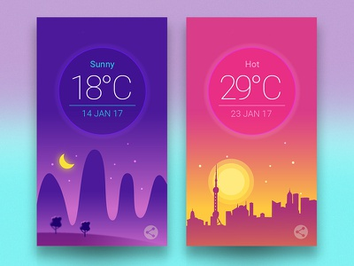 Weather UI android ios flat icon design ux ui inspiration app weather concept