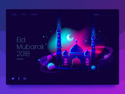 Eid Mubarak  Header Concept 2018 gradients eid vector illustration ui website concept header flat