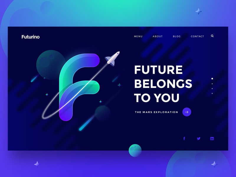 Futurino - Landing Design Exploration illustration homepage clean modern web concept interface design ui  ux design header