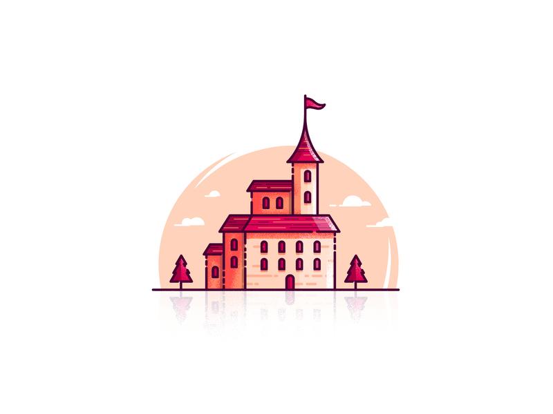 Little Castle grunge concept flat vector website design ui icon illustration