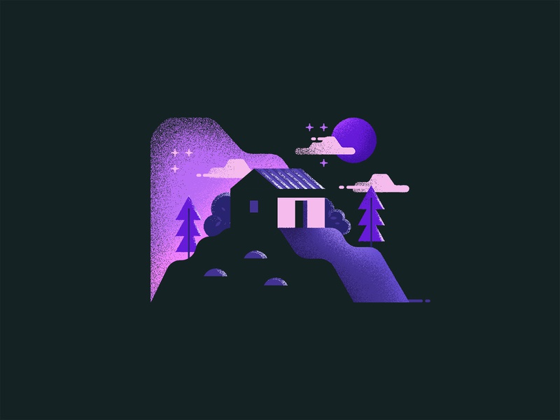 Home on hills mountain hill home night grunge texture flat icon design illustration