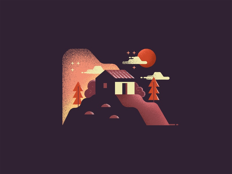 Home on hills - v2 illustration design icon flat texture grunge night home hill mountain