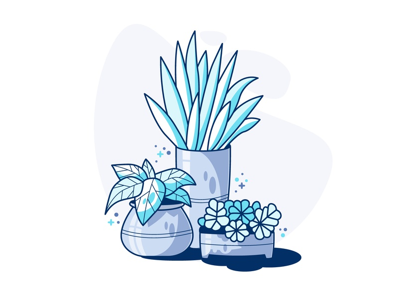 Mini Garden mini garden style modern ui illustration blue flat vector art line plants