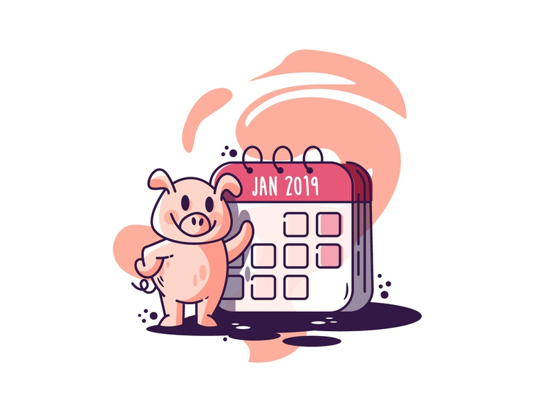 Year Of The Pig 2019 vector illustration holida pig cute year new