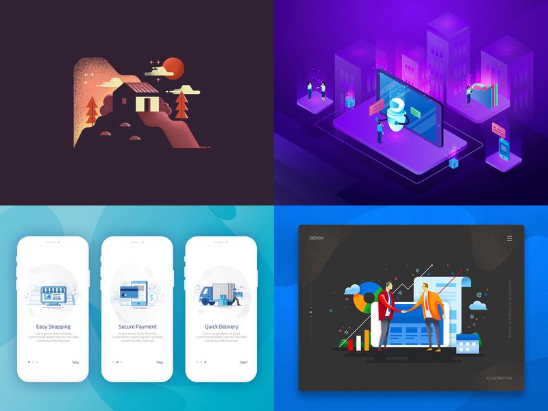 Best 4 of 2018 app vector grunge isometric icon ui illustration 2018 shot best