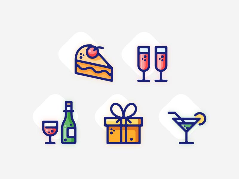 Party Icons celebration party website color line concept vector flat design ui illustration icon