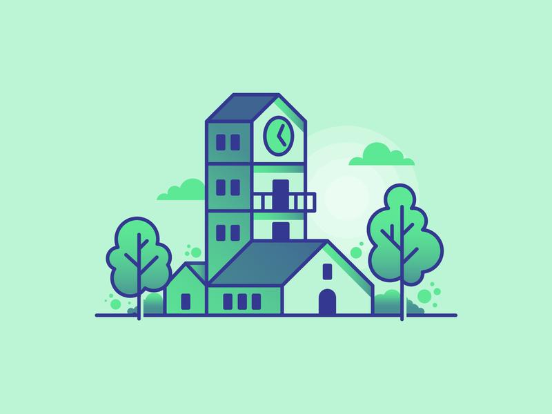 Littel house 2 gradient colour flat illustration house illustration icon vector green line bold house