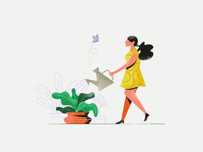 Girl taking care of plants citizen watering  plant icon human illustrator doing design butterfly taking care grow illustrations young person taking watering can  greenhouse lifestyle  vase  hobby natural  plants  care flat  plant  job leaves garden  person people  leaf  nature