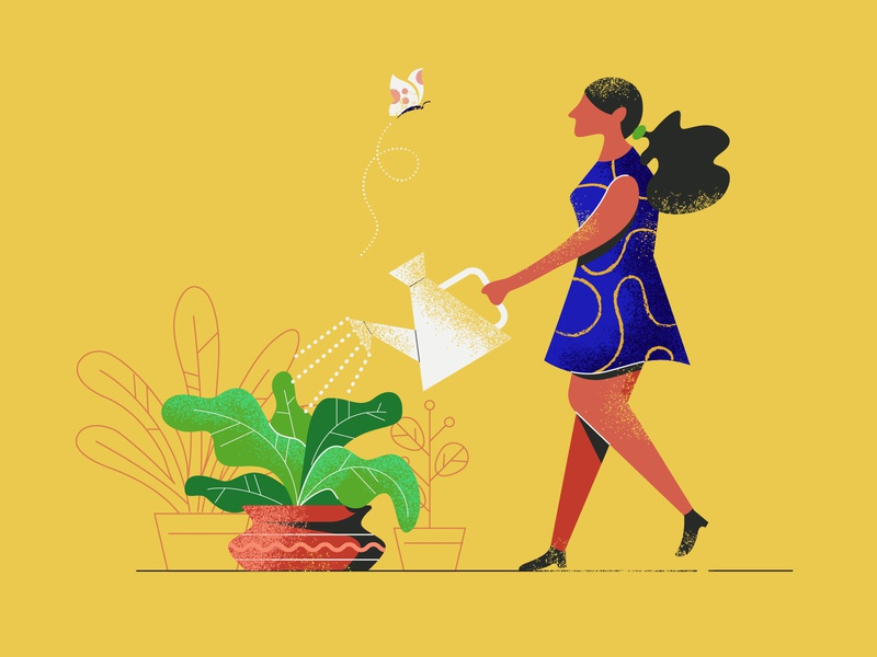 Girl taking care of plants v2 young person taking watering can greenhouse taking care grow illustrations people leaf nature natural plants care lifestyle vase hobby leaves garden person icon human illustrator flat plant job doing design butterfly citizen watering plant