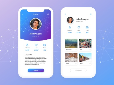 Photo Shareing App Ui scroll ready navigation  interface  home life profile lifestyle scroll  login screen ui  info  media blue data  app purple  social photos marketing web  internet button chart  layout template  phone  mobile menu technology  icon infographic business picture
