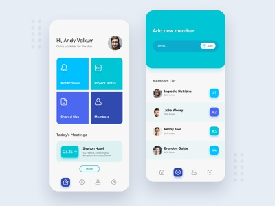 Team Management App interface color icons interface color icons line ui workspace team timeline time task manager people statistic task ux project management scheduling organisation planning process management tool manager meeting management app