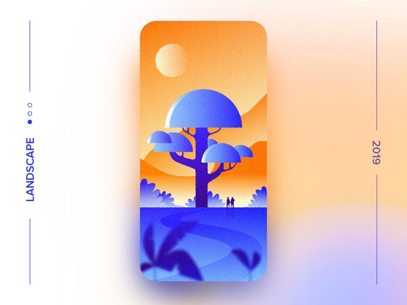 Landscape 1 wallpaper forest tree evening love visual design new evening ui  ux nature landcsape