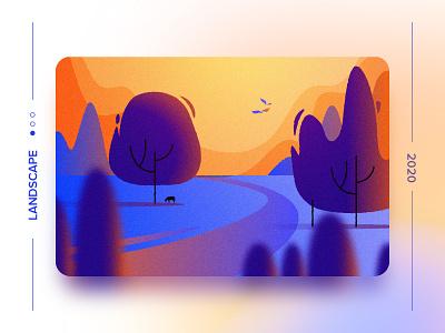 Landscape 2 gradient design landing page trees orenge love nature landscape colors flat vector ui icon illustration