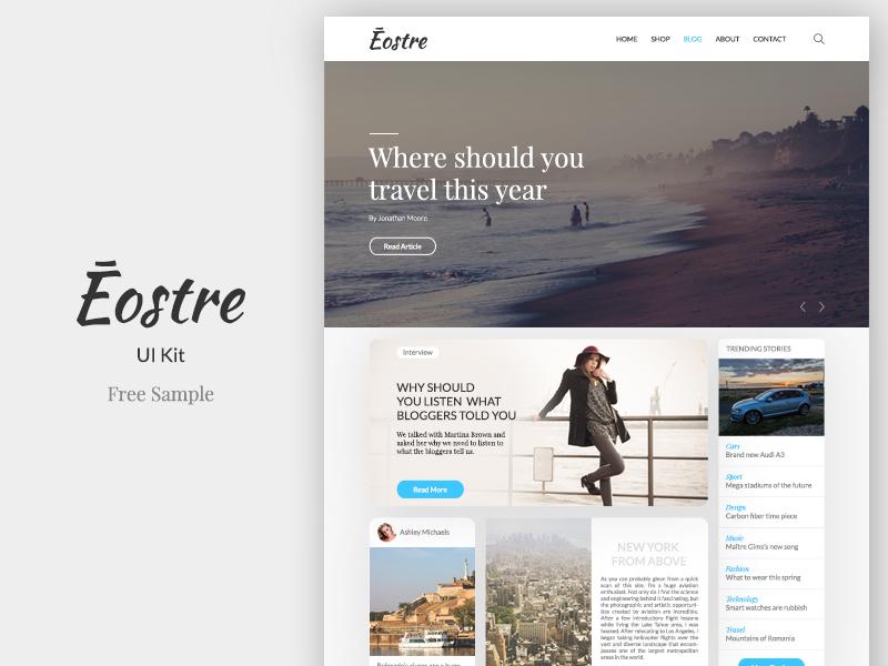 Ēostre Ui Kit - Free Sample fashion free freebie ui ux website web photoshop ecommerce shop blog ui kit web design website template