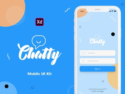 Chatty Mobile UI Kit ui design adobe xd ui kit xd ui kit ios ui kit chat ui kit mobile ui kit ios app iphonex ios made with xd adobe xd chat app chat