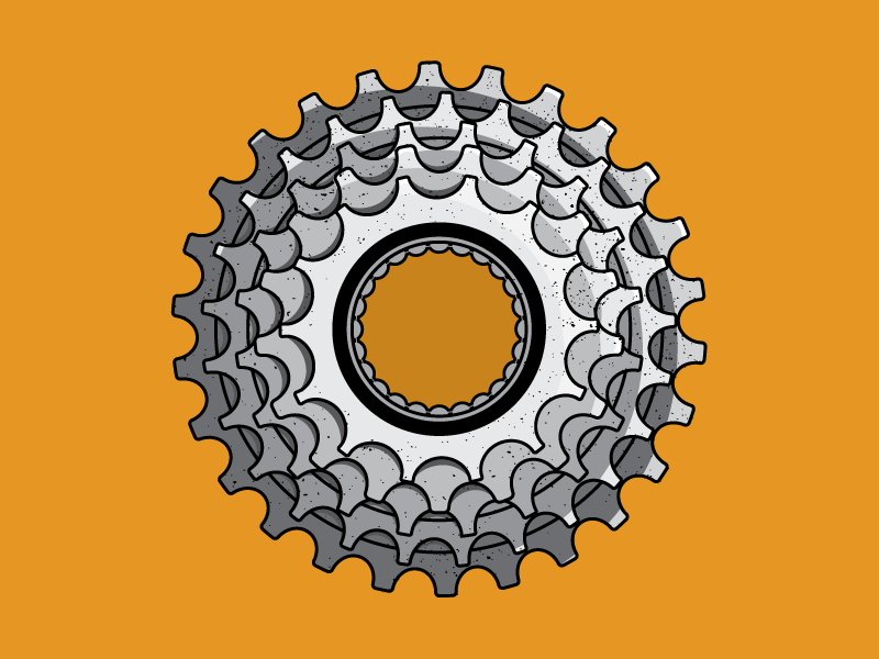 5-Speed illustrator illustration jupitervisual metal cog bikeart gears bike