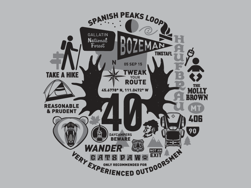 Montana Style screen printing hiking camping one color montana illustration spanish peaks bozeman