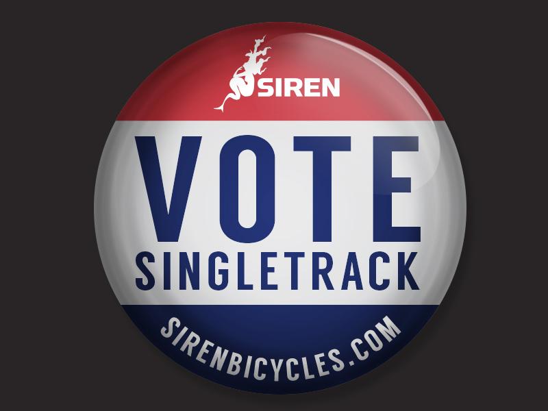 Vote Singletrack jupitervisual election bikes button badge political vote