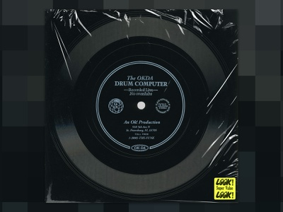 OKDA DRUM COMP retro concept artwork album album artwork album art records vinyl music logo branding identity design