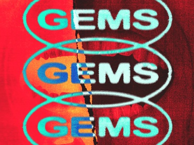GEMS typography psychedelic clothing collage streetwear branding identity apparel logo design