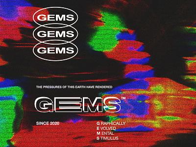 GEMS. psychedelic typography streetwear branding identity apparel logo design