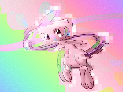 CHARACTER FLAWS - MEW collage photoshop effects neon colors neon glitch characters mew pokemon anime illustration design