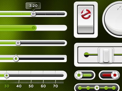"Slimer ""Green"" PSD UI Kit iphone ios ui button free interface psd kit menu slider download gui resources navigation switch green grey knob toggle freebie mobile web"