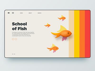 School of fish branding app dailyui typography illustration vintage retro interface school fish uiux ui landingpage web