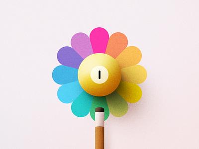 Pool flower retro texture vintage design icon illustration ball game billiards pool rainbow popart flower takashimurakami