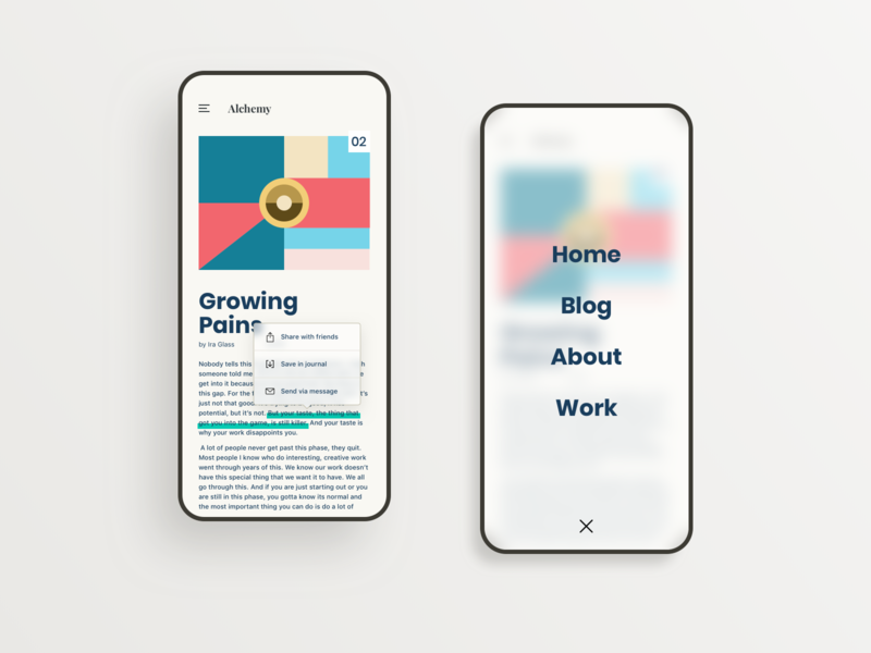 Blog App vector flat vintage web portfolio blog ux ui typography retro landing page interface illustraion dailui app design branding app