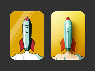 2D / 3D Rockets skeumorphic 3d 2d clouds space emoji figma illustration rocket