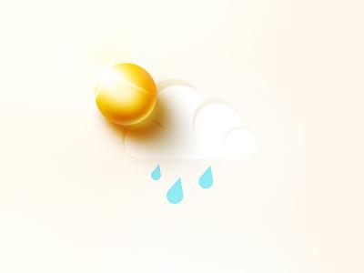 Weather icon flat vector 3d retro sun rain cloud weather vintage icon design illustration