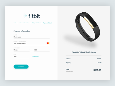 Fitbit – checkout up sign intersect design challenge dailyui ui card app