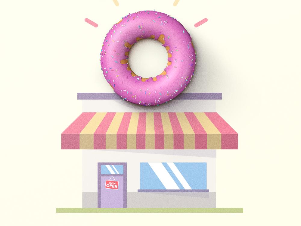 Donut Shop sweet signs ui retro vintage texture icon logo design illustration donut shop