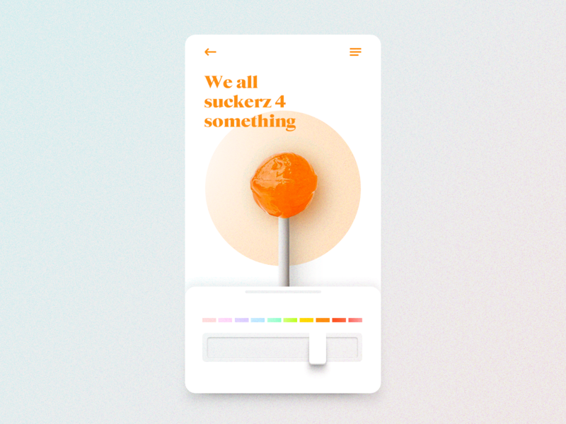 Sucker UI candy lolipop gauge orange color app mobile ux design ux ui